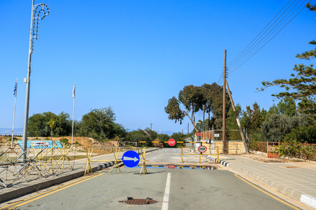 split road: Road closed because of Turkish invasion in 1974 when Cyprus was split into Turkish and Greek part with UN Buffer Zone as a border. Road leading from Greek part to buffer zone
