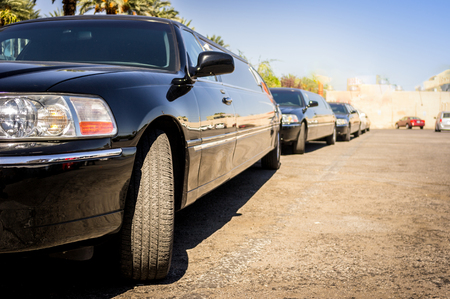 space weather tire: Three black limousines in a row, Las Vegas, USA