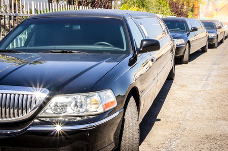 Three black limousines in a row, Las Vegas, USA Stok Fotoğraf - 58163764