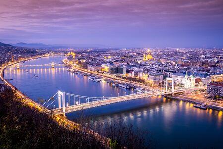 Budapest cityscape in wintertime taken from Gellert Hill, Hungary