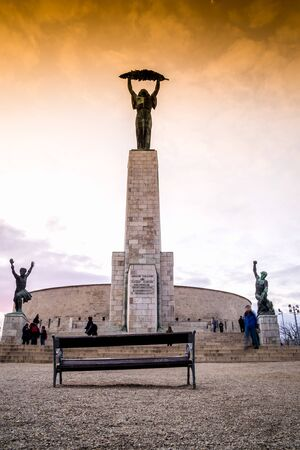 Liberty statue on Gellert Hill in Budapest, Hungary, Europe