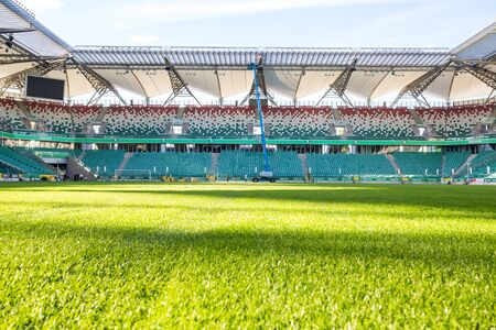 sward: Warsaw, Poland - July 1, 2015: Legia stadium during sunny, summer day Editorial