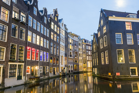 red light district: Charming houses and canal in Amsterdam, Red Light district, The Netherlands Stock Photo