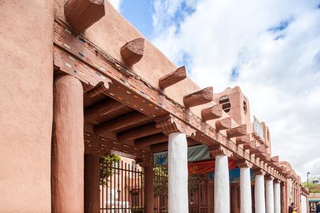 Traditional adobe architecture in Santa Fe, New Mexico, USA