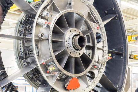 aluminum airplane: Close up of airplane engine during maintenance Stock Photo