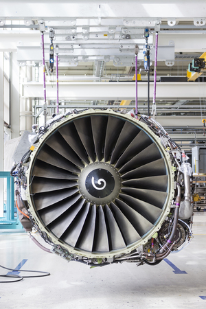 Close up of airplane engine during maintenance Stock Photo