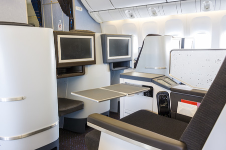 renovated: Freshly renovated business class in an airplane
