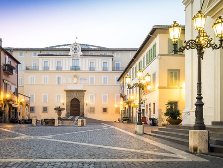 Main square in Castel Gandolfo, popes summer residency, Italy