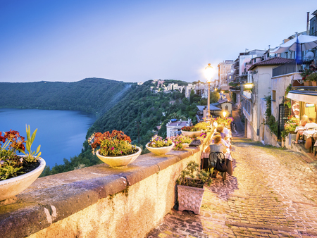 City life in Castel Gandolfo, popes summer residency, Lazio, Italy