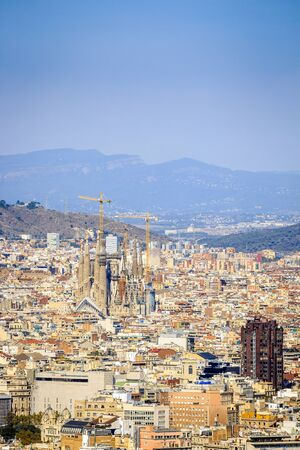 sagrada: Barcelona panorama with Sagrada Familia, Catalonia, Spain Editorial