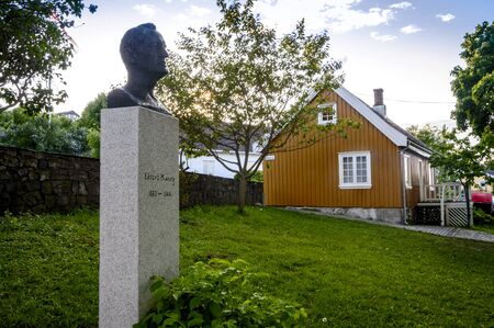 munch: Asgardstrand, Norway - June 10, 2013: Edvard Munchs house and his monument. Inside the house, his museum is located.