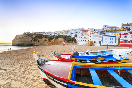 Beautiful beach with boats in Carvoeiro, Algarve, Portugal