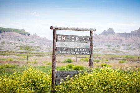 Entering Pine Ridge Indian Reservation Road Sign, South Dakota, USA