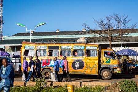 Nairobi, Kenya - December 9, 2016: Commuters using bus in capital city