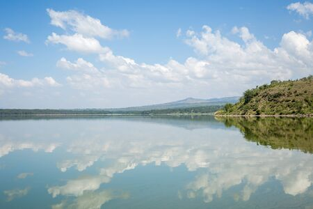 naivasha: Blue sky reflected in waters of Elmenteita Lake, Kenya, East Africa