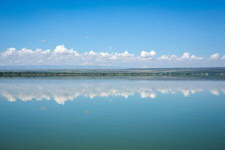 nakuru: Blue sky reflected in waters of Elmenteita Lake, Kenya, East Africa