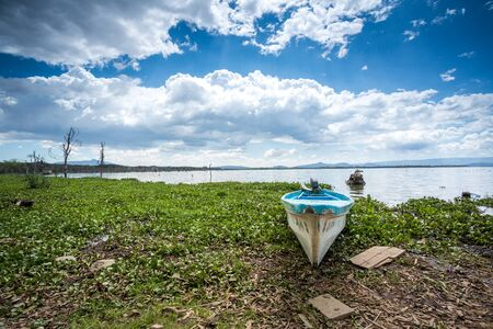 naivasha: Blue canoe over Naivasha lake, Kenya, East Africa