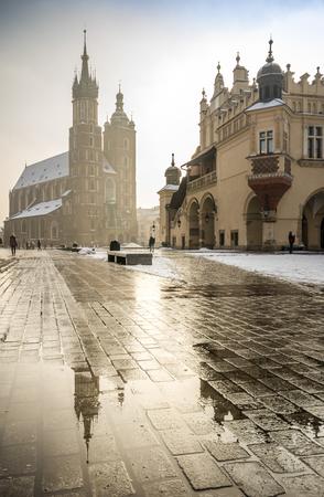 Market square of former Polish capital city, Krakow, Poland