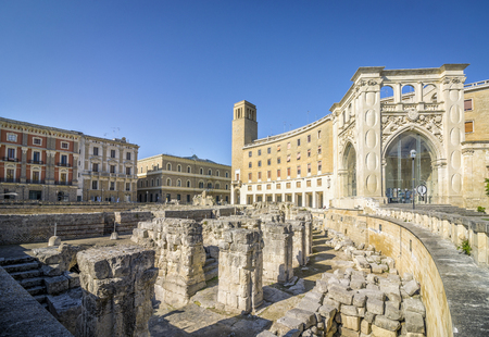 Ancient amphitheater in city center of Lecce, Puglia, Italy Stok Fotoğraf - 79833202
