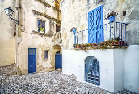 Beautiful mediterranean courtyard in Otranto, Puglia, Italy