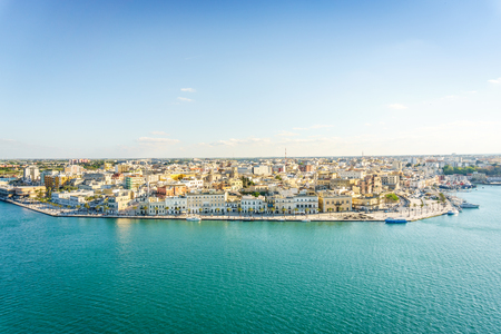 Aerial panorama of Brindisi in the afternoon, Puglia, Italy