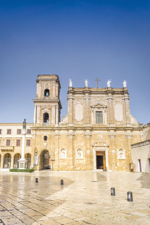 Cathedral and monument in city center of Brindisi, Puglia, Italy