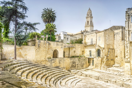 Ancient amphitheater and cathedral in city center of Lecce, Puglia, Italy
