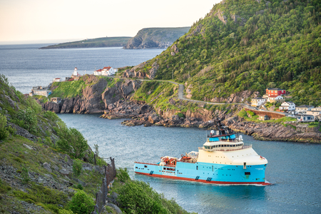 Fishing boat heading the port in St. Johns, Newfoundland and Labrador, Canada