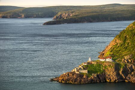 Historic Fort Amherst and lighthouse at The Narrows leading to St. Johns, Newfoundland and Labrador, Canada
