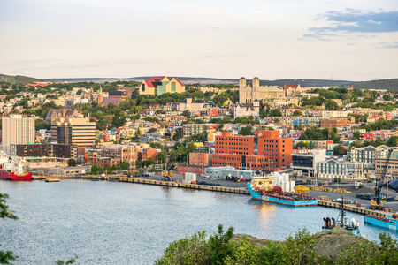 St. Johns cityscape with a port, capital city of Newfoundland and Labrador, Canada