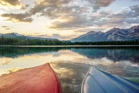 Edith Lake with boats at sunset, Jasper, Alberta, Canada