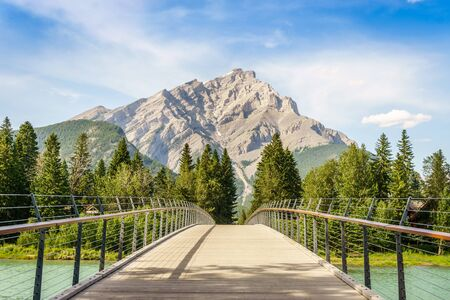 Footbridge in Banff over Bow River, Banff National Park, Alberta, Canada
