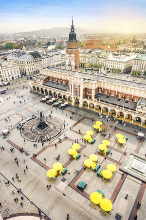 Cloth's Hall, Old City Hall Tower and Mickiewicz monument on Market Square, Krakow, Poland