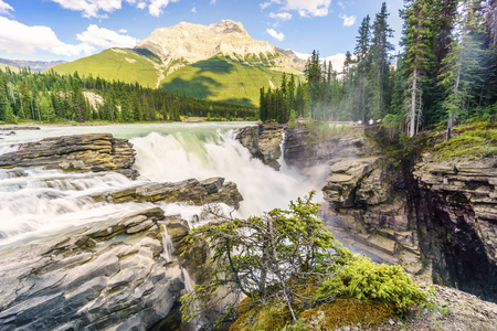 Athabasca Waterfalls by Icefields Parkway, Jasper National Park, Alberta, Canada Stock Photo