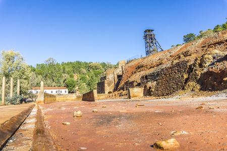 Mining museum with old shaft in Pena del Hierro, Nerva, Huelva, Spain Stock Photo