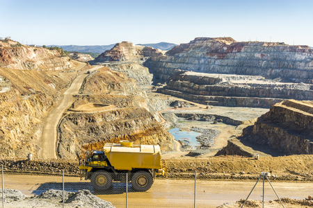 Big transportation vehicles used in  huge, modern open pit mine in Minas de Riotinto, Andalusia, Spain Stock Photo