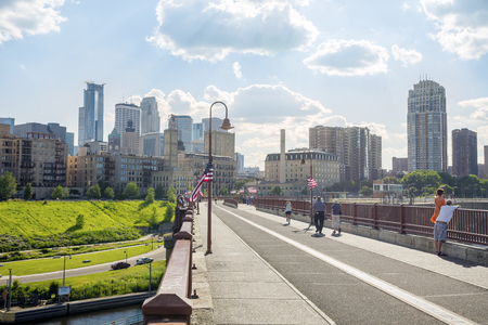 Minneapolis Downtown taken from Stone Arch Bridge over Mississipi.
