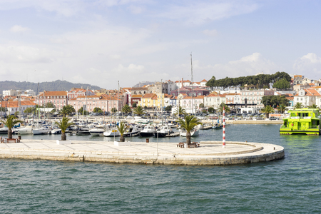 View of old city of Setubal from marina, Portugal