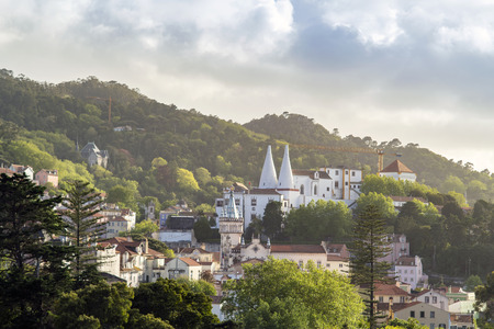 Green cityscape of Sintra with National Palace, Portugal Stok Fotoğraf