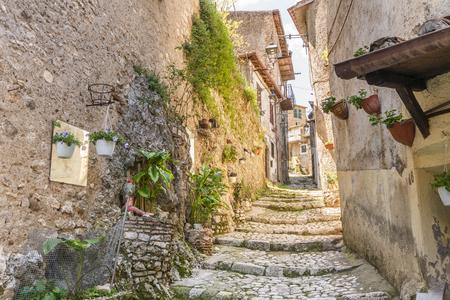 Affascinante città medievale di Artena, vicino a Roma, Lazio, Italia Archivio Fotografico