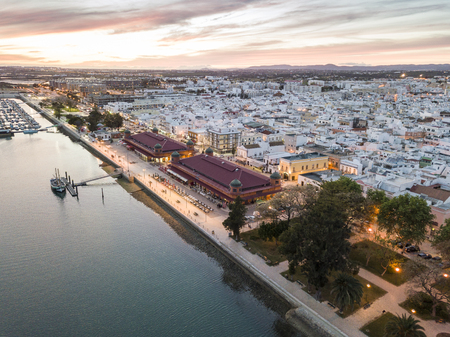 Olhao with two market buildings by Ria Formosa in the evening, Algarve, Portugal Stok Fotoğraf