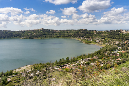 Castel Gandolfo town located by Albano lake, summer residency of pope, Italy