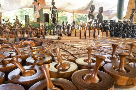 African wooden art souvenir sold on open air market  FEIMA in Maputo, Mozambique