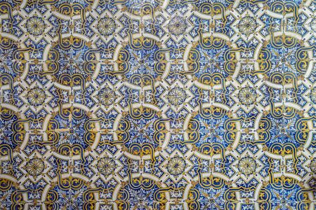 Original old blue tiles called azulejos in Coimbra, Portugal