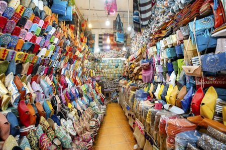 Colorful slippers sold in old town of Marrakech, Morocco, North Africa
