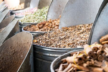 Variety of spices in old town market in Marrakech, Morroco, North Africa
