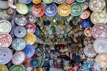 Colorful ceramic bowls sold in old town of Marrakech, Morocco, Africa Фото со стока - 137694382