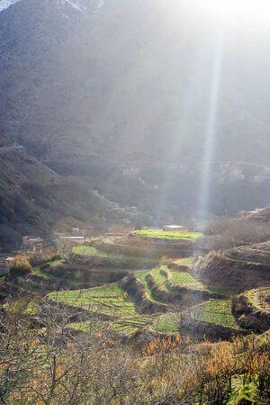 Beautiful terraced fields in high Atlas mountains, Imlil, Morocco