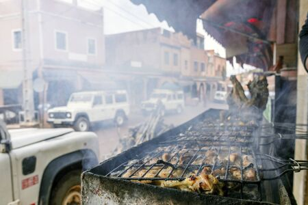 Delicious meat skewers sold on streets of Morocco