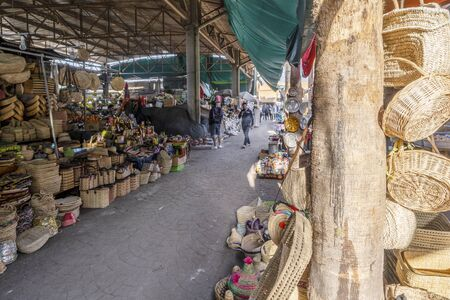 Agadir, Morocco - March 19, 2020: Traditional market selling many wicker products Stock Photo